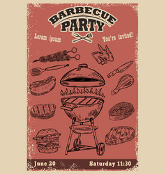 Barbecue party invitation template hand drawn bbq vector