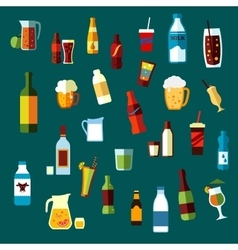 Beverages cocktails and drinks flat icons vector image vector image
