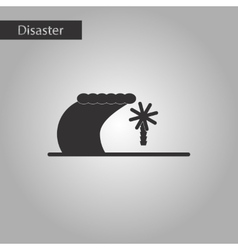 Black and white style icon tsunami island vector