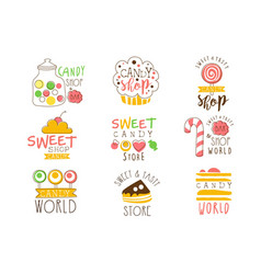Candy shop promo signs series of colorful vector