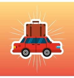Car with suitcase travel isolated icon vector
