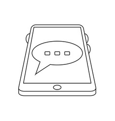 cellphone with chat bubble icon image vector image