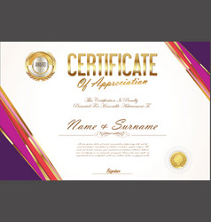 certificate retro design template 09 vector image