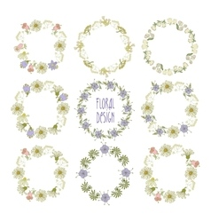 Collection of wreaths of flowers Elements for vector image vector image