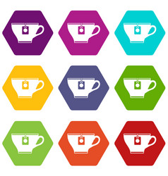 cup with teabag icon set color hexahedron vector image vector image