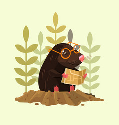 Cute happy smiling mole character sitting and read vector