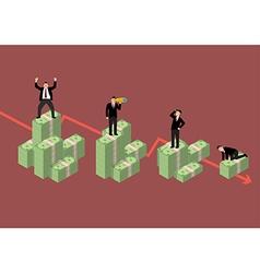 Decreasing cash money with businessmen in various vector