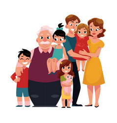 family portrait - parents children grandfather vector image vector image