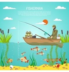 Fisherman Color Design Concept vector image