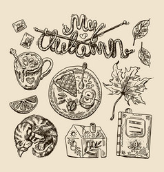 hand drwan sketch autumn elements vector image vector image