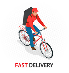 Isomeric fast delivery concept delivery man or vector