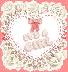 its a girl baby shower on heart and roses vector image vector image