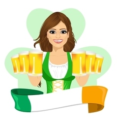 leprechaun girl with beer mugs and irish ribbon vector image