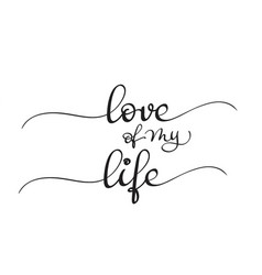 Love of my life text on white background vector