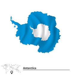 Map of antarctica with flag vector