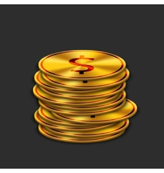 modern gold dollar on dark background vector image vector image