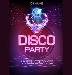Neon disco cocktail party poster vector