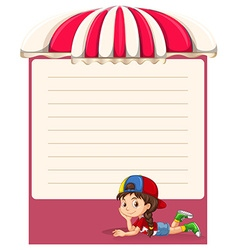 Paper design with little girl vector image vector image
