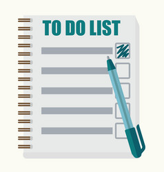 paper note book with to do list in cartoon style vector image