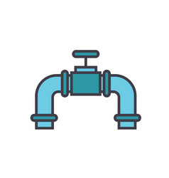 pipes with gas valve flat line vector image
