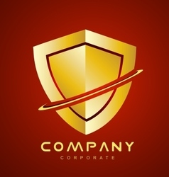 Red gold antivirus shield logo icon design vector