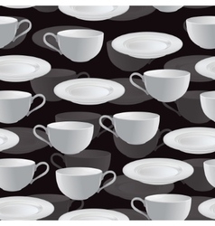 Seamless background with plates and cups vector image