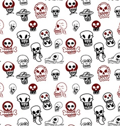 Seamless pattern of many style of skull vector image vector image