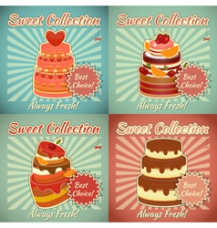 Set of Retro Cards with Cake vector image vector image