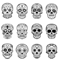 Set of Sugar skulls isolated on white background vector image