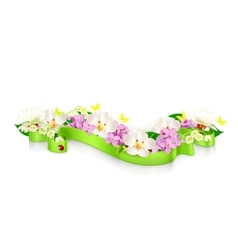 Spring flowers and ribbon vector image