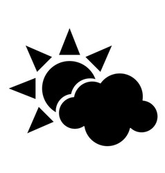 sun cloud weather symbol pictogram vector image