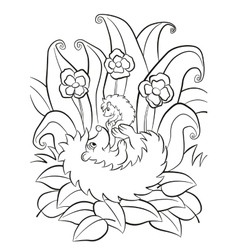 The hedgegoh holds baby on the paws vector image