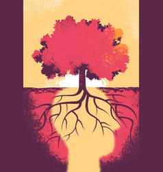 The soul of the tree thinks to a better tomorrow vector