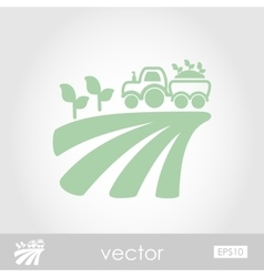 Tractor on field harvest seedling icon vector