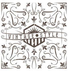 vintage grunge label with swirls and flowers vector image