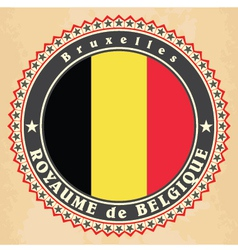 Vintage label cards of Belgium flag vector image
