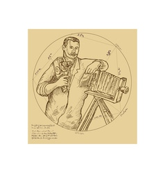 Vintage Photographer holding video camera vector image vector image