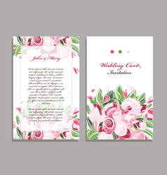 wedding card template floral design vector image vector image