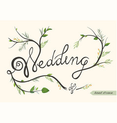 Wedding invitation invite card poster hand drawn vector