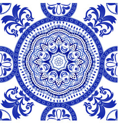 White and blue ornamental pattern indian vector