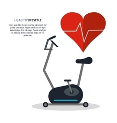Spinning machine and heart pulse icon fitness vector