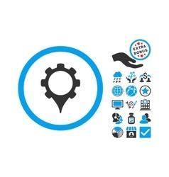 GPS Settings Flat Icon With Bonus vector image