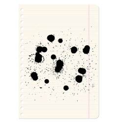 Brush blot on exercise book in line vector