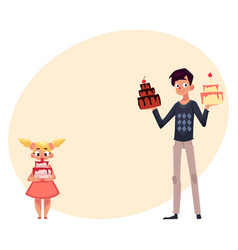 Father and daughter holding birthday cakes vector
