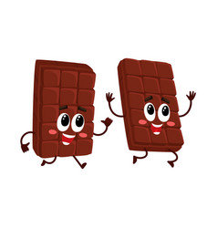Funny chocolate bar characters one chasing vector