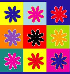 flower sign pop-art style vector image