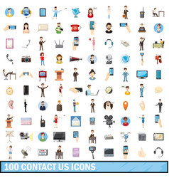 100 contact us icons set cartoon style vector image