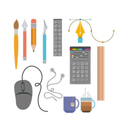Colorful background instruments to hand and vector