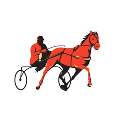 Harness horse cart racing retro vector
