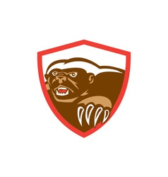 Honey badger claws side shield retro vector